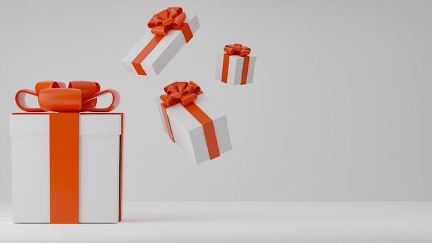 Weiße geschenkboxen für weihnachten und neujahr