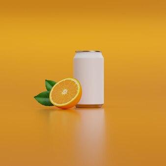 Weiße getränkedose mit halb orange und grünem blatt.