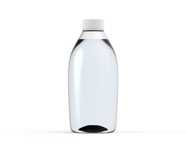 Weiße glasflasche mit flüssigkeit isoliert transparentes glas wasserbehälter mockup