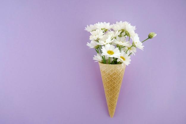 Weiße große gänseblümchen in einem waffelkegel auf einem hellen lila hintergrund