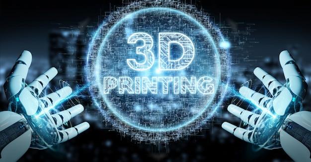 Weiße hand des roboters unter verwendung 3d, das digitale wiedergabe des hologramms 3d druckt