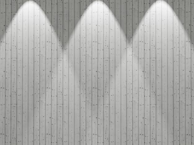Weiße hölzerne wand 3d mit den scheinwerfern, die unten glänzen
