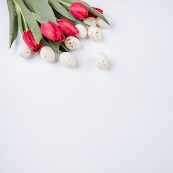 Weiße hühnereien mit tulpen