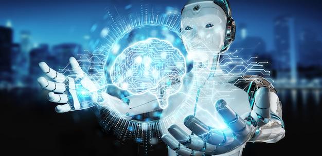 Weiße humanoidfrau, die digitale wiedergabe des ikonenhologramms 3d der künstlichen intelligenz verwendet