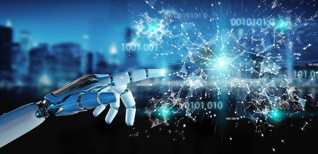 Weiße humanoidhand unter verwendung der digitalen wiedergabe der kugel hud-schnittstelle 3d