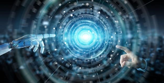 Weiße humanoidhand unter verwendung der digitalen wiedergabe des globalen netzwerks 3d
