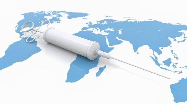 Weiße impfstoffspritze auf blauer internationaler weltkarte als menschliche haut