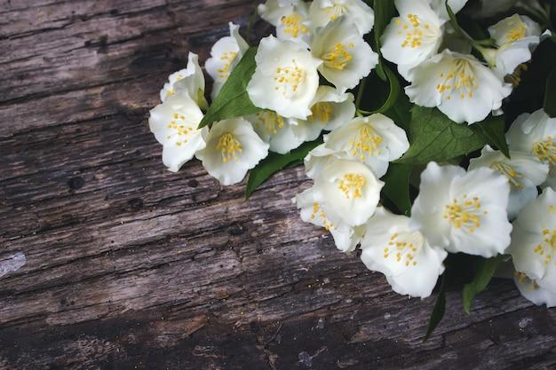 Weiße jasminblüten auf holzhintergrund kartenkonzept, pastellfarben, nahaufnahme bildkopierraum
