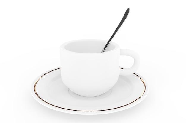 Weiße kaffeetasse mit teller und löffel auf weißem hintergrund