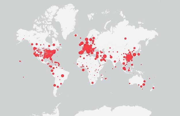 Weiße karte mit coronavirus-infizierten ländern. covid-19-karte bestätigte fälle weltweit gemeldet. coronavirus-krankheit 2019-situationsaktualisierung weltweite verbreitung des coronavirus