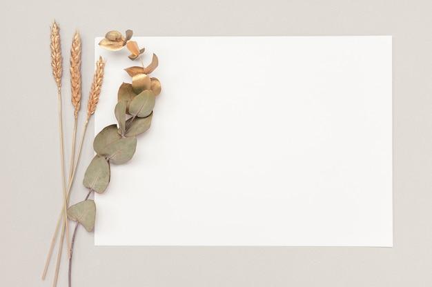 Weiße karte mit einem getrockneten eukalyptus und einer goldenen ohrendekoration auf einem neutralen tisch