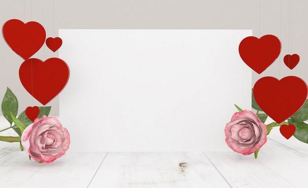 Weiße karte mit rosen und herzen