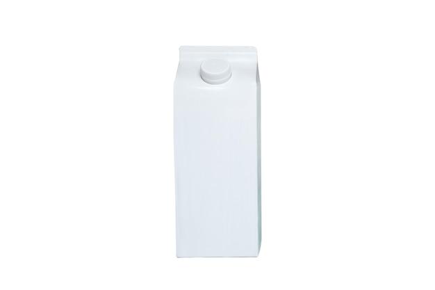 Weiße kartonschachtel oder verpackung der tetra-packung mit kappe