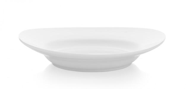 Weiße keramikplatte auf weiß