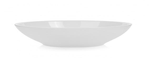 Weiße keramikschale auf weißem raum