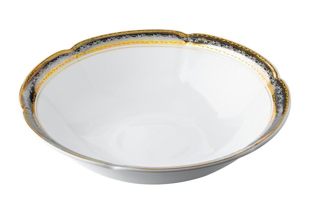 Weiße keramiktischplatte mit goldenem rand lokalisiert auf weißem hintergrund