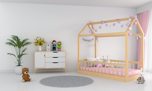 Weiße kinder schlafzimmer interieur