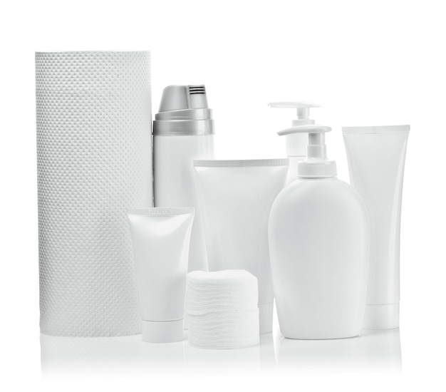 Weiße kosmetikobjekte Premium Fotos