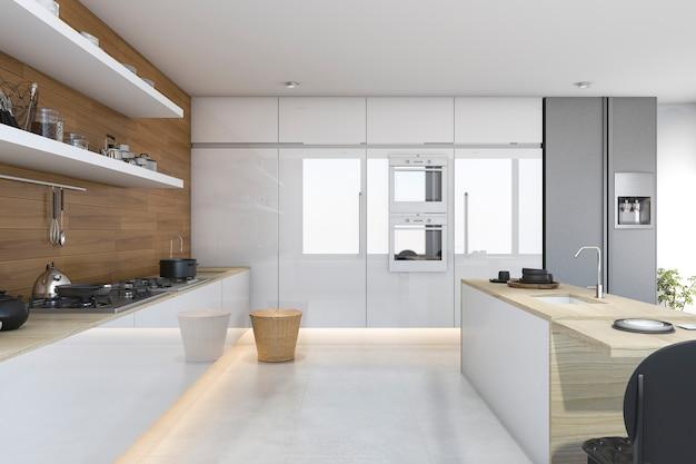 Weiße küche des dachbodens der wiedergabe 3d mit dem holz eingebaut