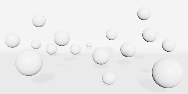 Weiße kugel, die auf weißer hintergrund 3d illustration schwimmt