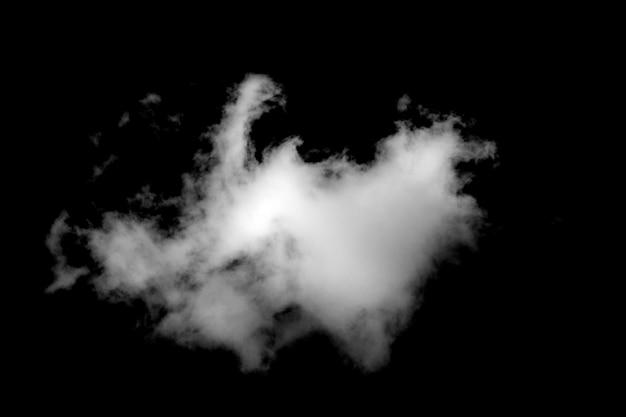 Weiße kumuluswolke auf schwarzem hintergrund isoliert