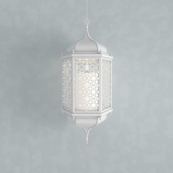 Weiße laterne mit kerze, lampe mit arabischer dekoration, arabeskenentwurf