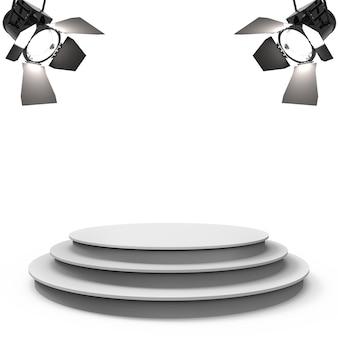 Weiße leere bühne mit zwei scheinwerfern