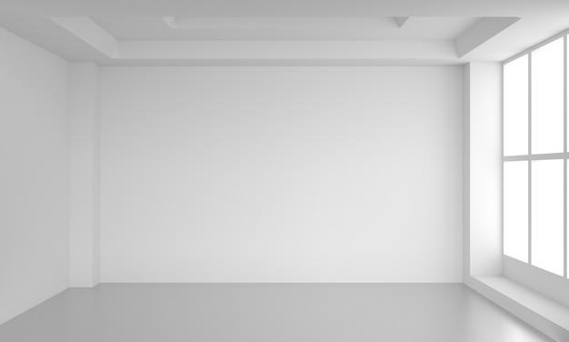Weiße leere innenwand des leeren raumes. 3d render