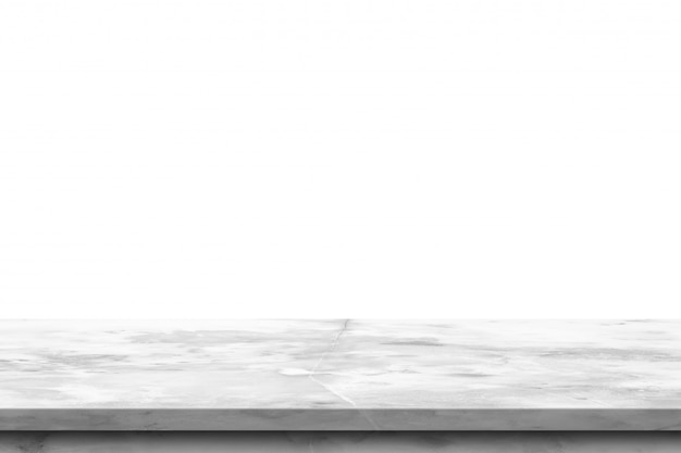 Weiße leere marmortischplatte lokalisiert auf weißem hintergrund.