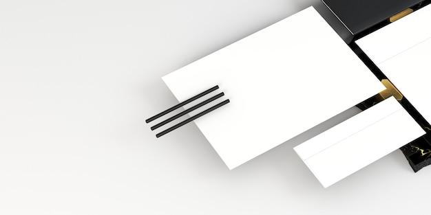 Weiße leere papierdokumente und bleistifte