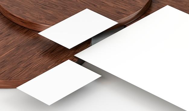 Weiße leere papierdokumente und holzbrett