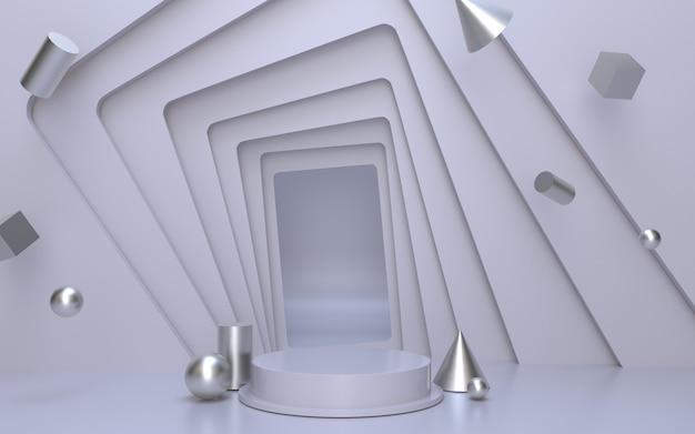 Weiße leere podiumsbühne für produktpräsentation mit silbernem geometrischem objekthintergrund
