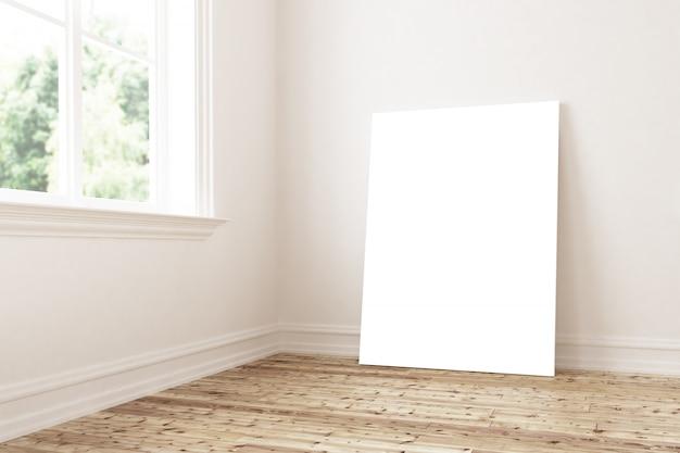 Weiße leinwand auf innenraum