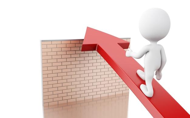 Weiße leute 3d auf pfeil überwinden backsteinmauer