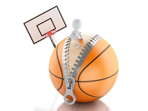 Weiße leute 3d, die auf basketballball spielen