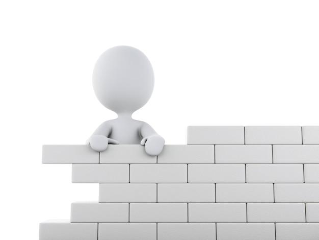 Weiße leute 3d, die eine backsteinmauer errichten.