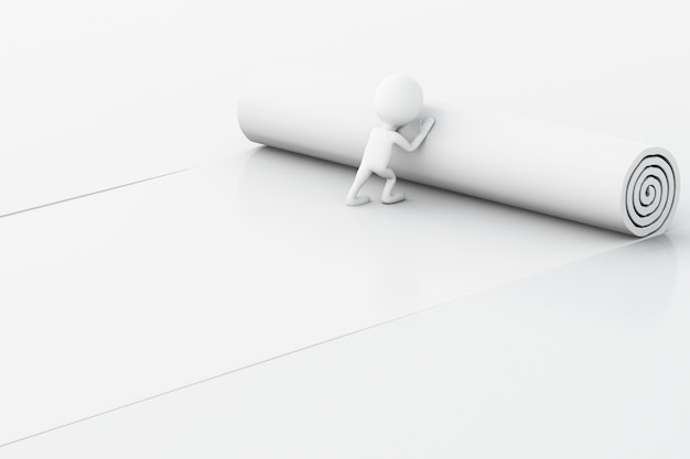 Weiße leute 3d, die heftiges papier mit platz für text öffnen.