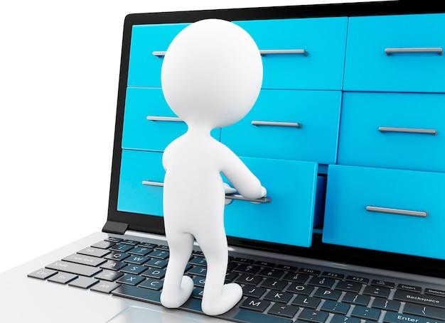 Weiße leute 3d, die ordner in einem laptop suchen.