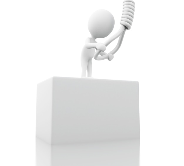Weiße leute 3d, die versuchen, sich zu hängen