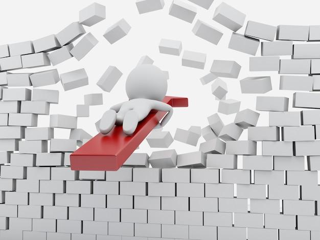 Weiße leute 3d mit dem roten pfeil, der backsteinmauer bricht.