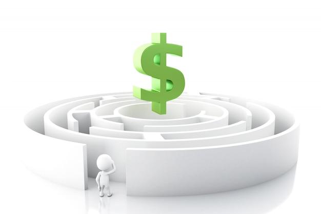 Weiße leute 3d mit einem labyrinth- und dollarzeichen.