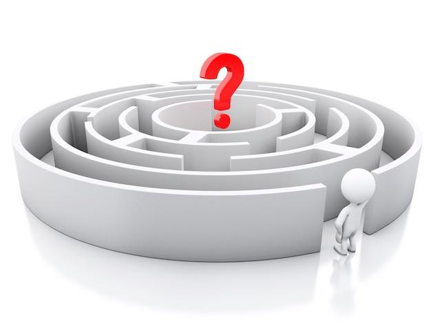Weiße leute 3d mit einem labyrinth und einem fragezeichen.