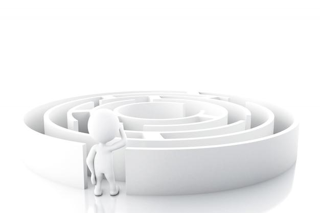 Weiße leute 3d mit einem labyrinth.