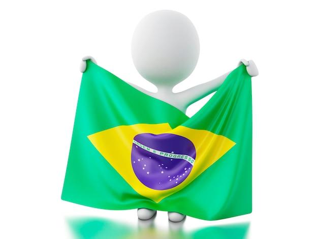 Weiße leute 3d mit einer brasilien-flagge.
