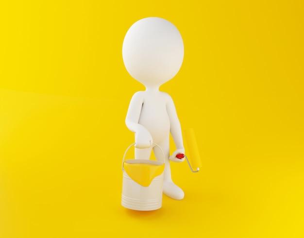 Weiße leute 3d mit farbeimern und farbenrolle