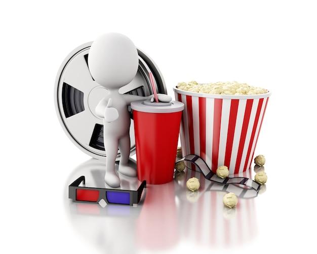 Weiße leute 3d mit filmrolle, getränk und popcorn.