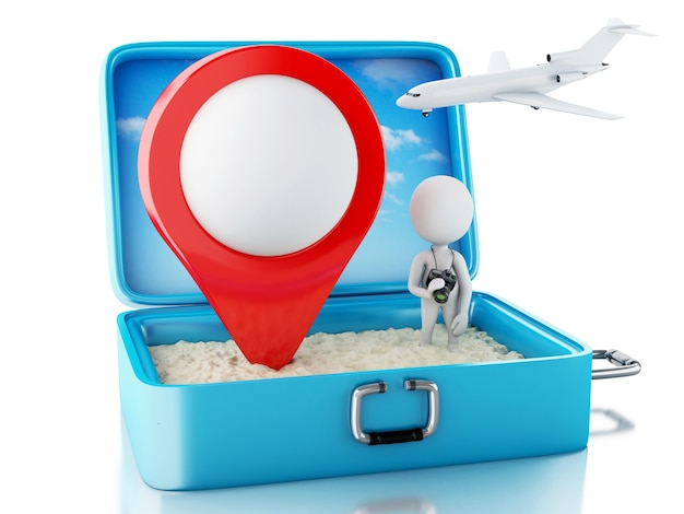 Weiße leute 3d mit kartenzeiger in einem reisekoffer