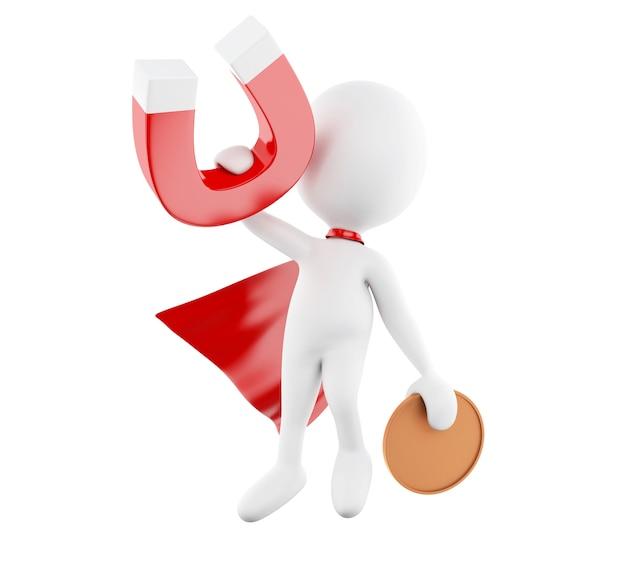 Weiße leute 3d mit rotem kap und hufeisenmagneten