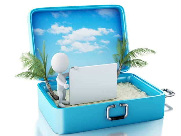 Weiße leute 3d mit schild in einem reisekoffer. sommer-konzept