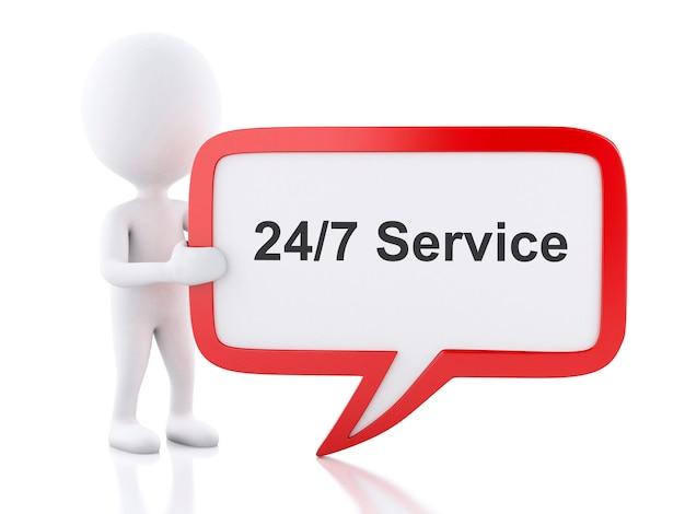 Weiße leute 3d mit spracheblase, die 24/7 service sagt.